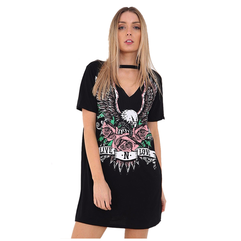 Women's New Fashion Sexy V Neck <font><b>Dress</b></font> Print Punk <font><b>Rock</b></font> Rose Eagle Halter <font><b>T</b></font> <font><b>Shirt</b></font> <font><b>Dress</b></font> Short Sleeve Casual Loose Summer Mini Dres image