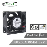 2PCS Gdstime 8038 DC 12V 8cm 80mm Ball Bearing Waterproof Cooling Fan 80x80x38mm PWM 4Pin Inverter Cooler Cooling