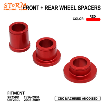 Motorcycle Red Aluminum Front Rear Wheel Spacers For Honda XR250R XR 250R 250 R 1996-2004 CRF230L CRF 230L 230 L 2008 2009 image