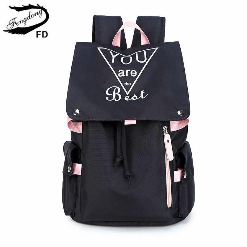 FengDong nastoletnie dziewczyny szkolne torby moda czarny różowy duży szkolny plecak wodoodporna torba na książki uczeń dziewczyna plecak fluorescencyjny