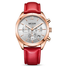 Women Watches MEGIR Fashion Pink Leather Ladies Quartz Watch Women Clock Lovers Hour Relogio Feminino Montre Femme Reloj Mujer watches womage women fashion leather strap quartz watch ladies watches clock hour montre femme reloj mujer relogio feminino saat
