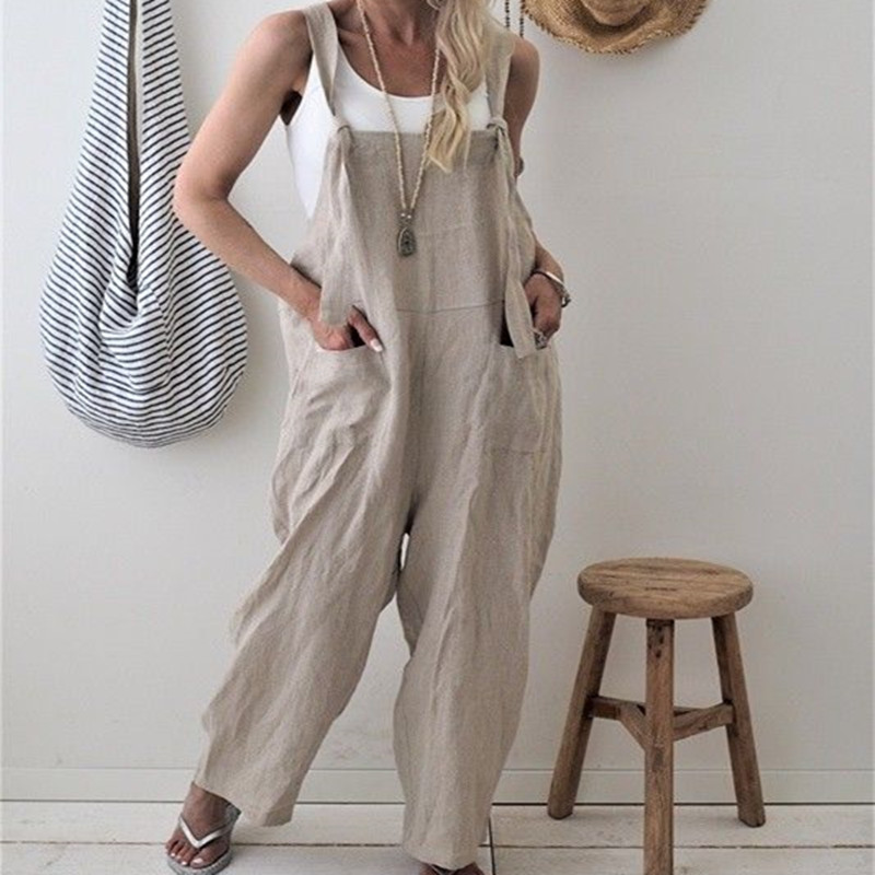 Solid Women Casual Loose Cotton Suspender Pant Jumpsuit Overalls