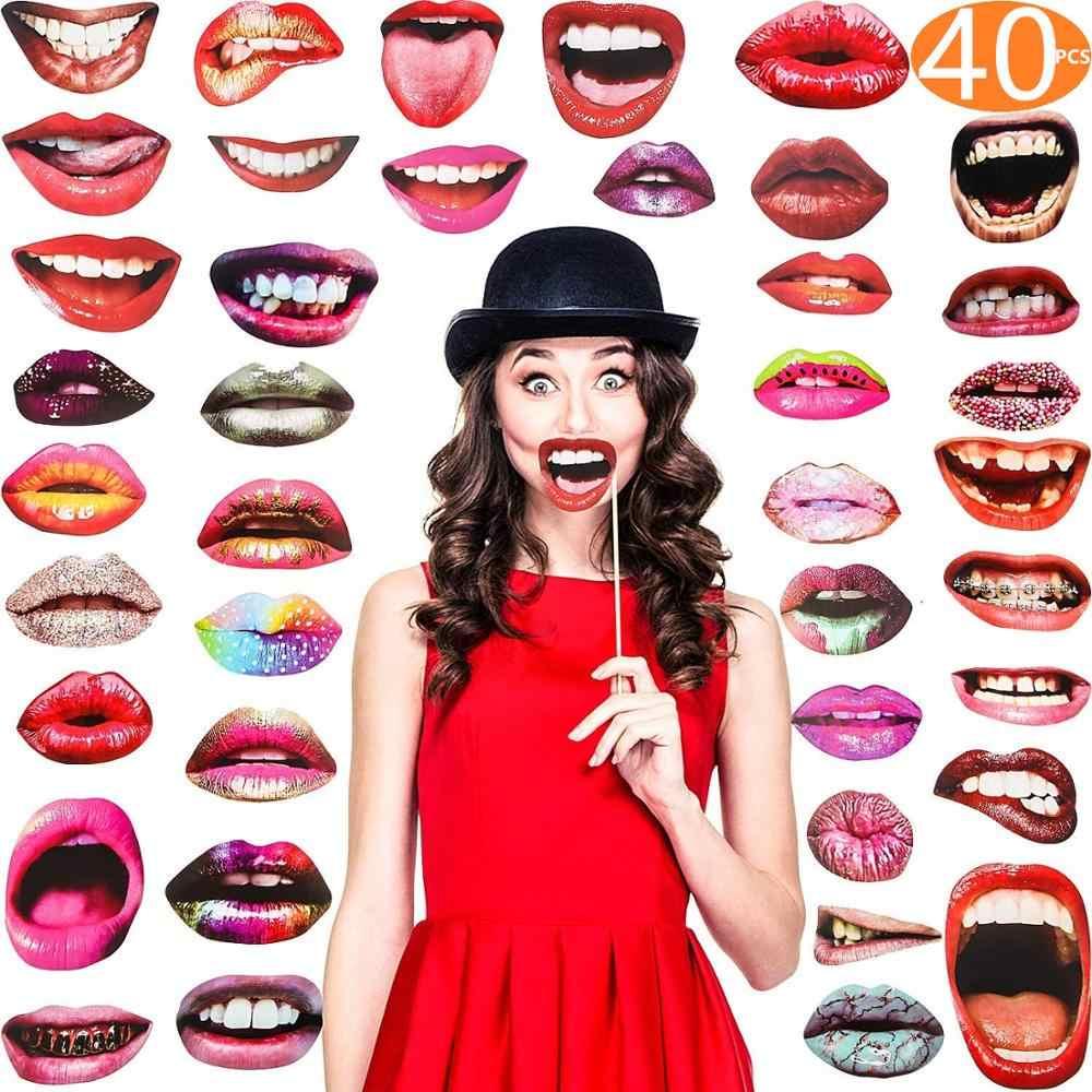 Photo Booth Alat Peraga Pesta Masker Hat Kumis Bibir Photobooth Props Dekorasi Pesta Pernikahan Ulang Tahun Pesta Favor Lucu Photo Booth