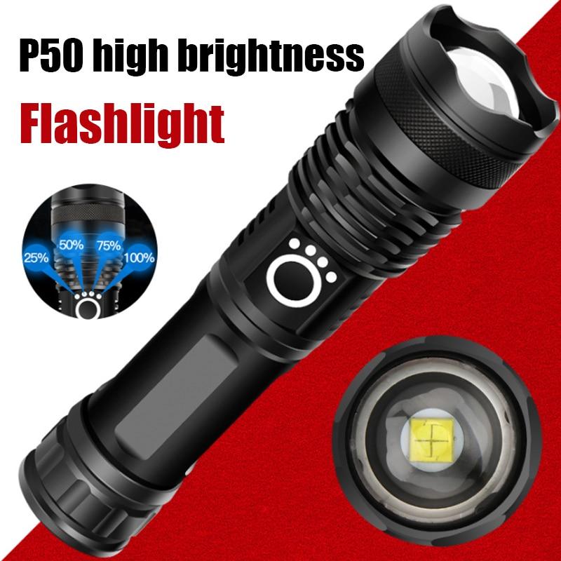 P50 USB Rechargeable Fleshlight Mini Diving Lantern Electric Self-defense Shock LED Torch Waterproof  Hard Light Led Flash Light