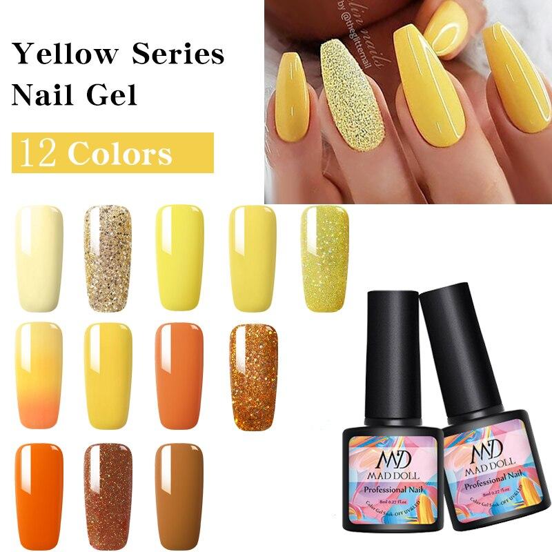 1 Bottle 8ml MAD DOLL 12 Color Spring Summer Soak Off UV Gel Polish Yellow Series Nail Art Nail Gel Polish  Nail Art