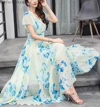 Free Shipping Bohemian Style S-5XL 2018 Summer New Arrival Collect Waist Flare Sleeve Flower Printed Woman Chiffon Long Dress(China)