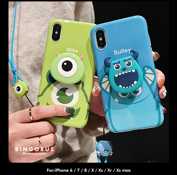 For iphone 11 pro XS max XR X Cute Sullivan Mike Monsters Case,Soft matte cover For iphone 6 6s 7 8 plus Shell +stander +Strap image