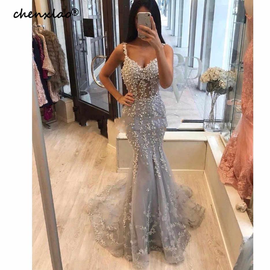 Modesta 2019 luz gris encaje sirena vestidos De noche con cuentas largos vestidos De noche Abiye bata De fiesta