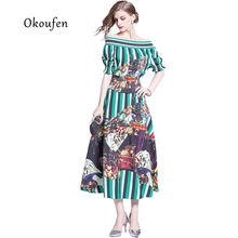 2019 OKOUFEN new summer suit elastic tight collar print top add large swing dress two pieces