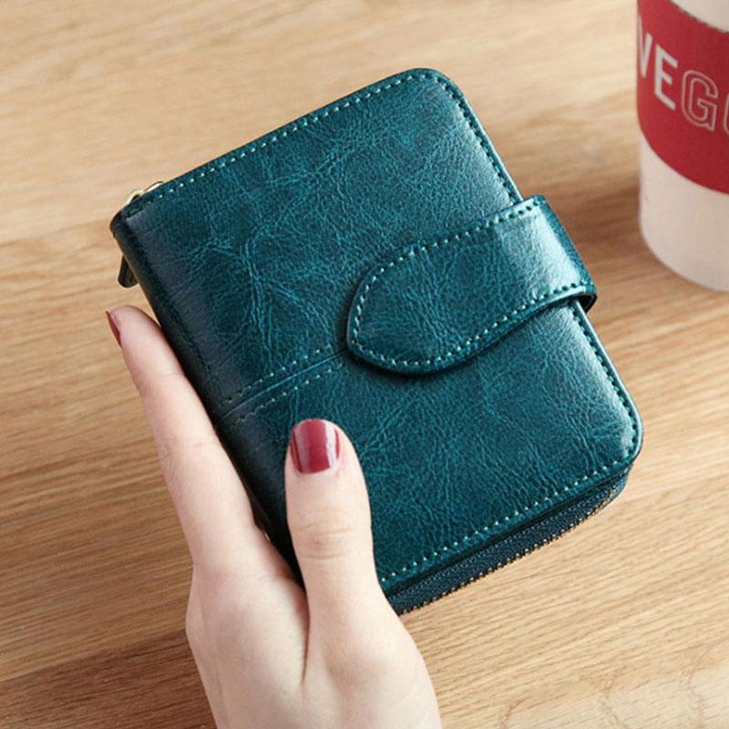 Image 2 - Billfold Oil Wax Genuine Leather Wallets Women Short Mini Clutch Purse Soild Coin Pocket Credit Card Holder Cowhide BagWallets   -