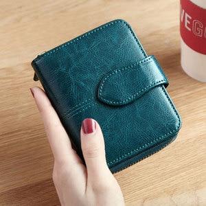 Image 2 - Billfold Oil Wax Genuine Leather Wallets Women Short Mini Clutch Purse Soild Coin Pocket Credit Card Holder Cowhide Bag