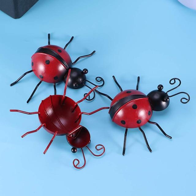 3pcs Outdoor Garden Iron Home Sturdy Craft Hanging Ornament Ladybug Shape Decoration Anti Fade Wall Art Weatherproof Traceless 1