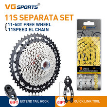 VG SPORTS 9 10 11 Speed Cassette Mountain Bike Ultralight Separate Cassette Freewheel +Half Hollow Bicycle Chain Set Gold/Silver