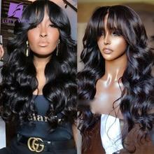 Wig Bangs Human-Hair-Machine Scalp-Top Wavy Luffywig Brazilian Density Black Women 200
