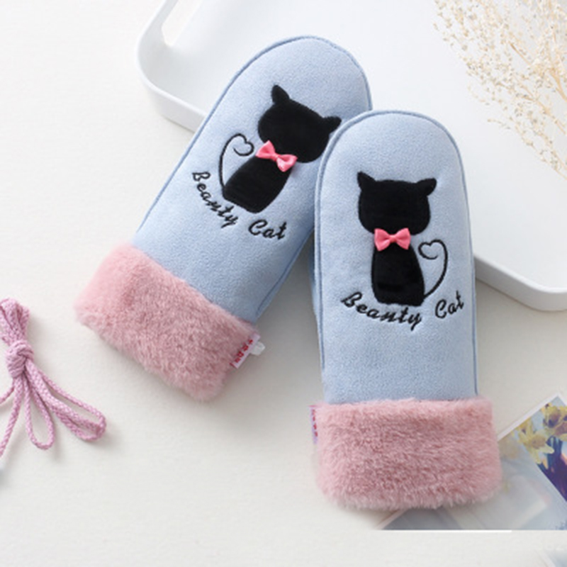 Woman Winter Cute Cat Bow Suede Leather Mittens Embroidered Touch Screen Glove Velvet Thicken Cycling Windproof Warm Gloves H96