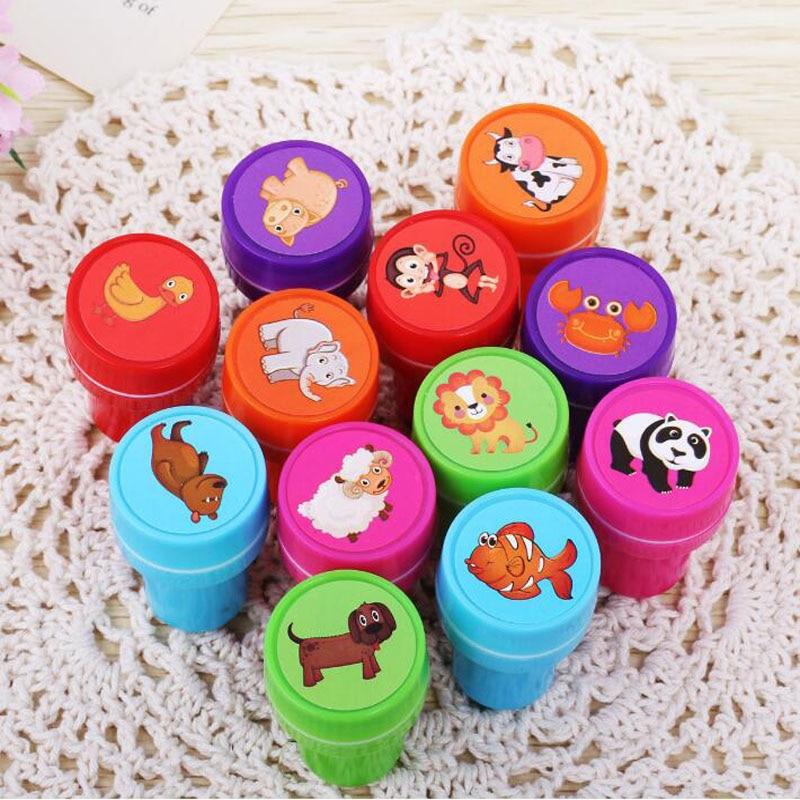 6pcs/Set Children Toy Stamps Cartoon Cute Animal Series Kids Seal For Scrapbooking Stamper DIY Cartoon Party Stamper Kawaii Toys