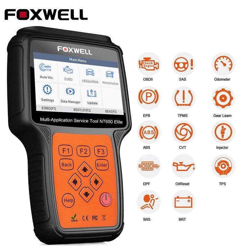 FOXWELL NT650 Elite OBD2 herramienta de diagnóstico de coche ABS SRS Airbag SAS EPB servicio de aceite DPF TPMS reinicio 20 función especial OBDII escáner