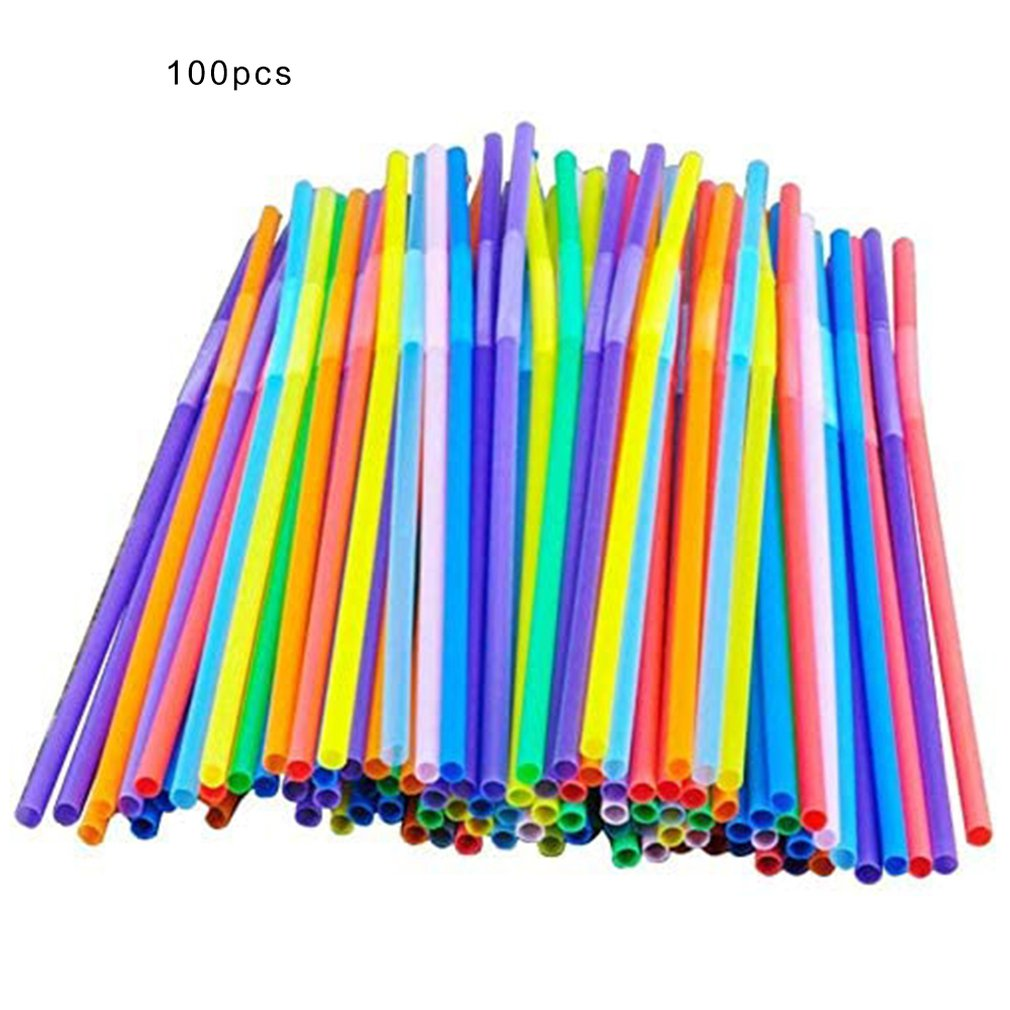 100 pcs/bag Disposable plastic Color art Curved DIY shape PP Elbow Strong and sturdy