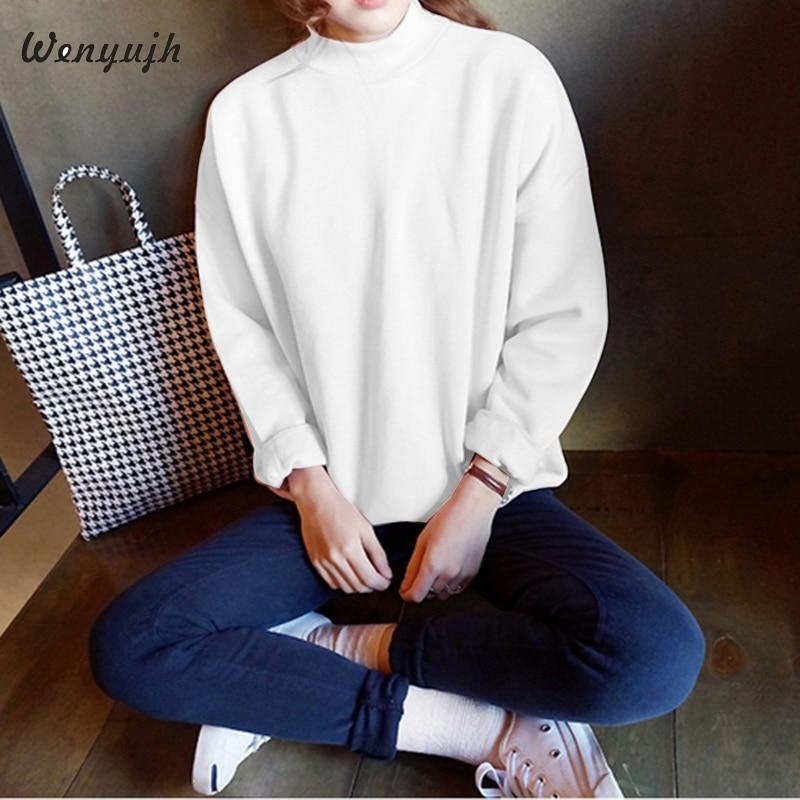 Sweatshirt Womens Fleece Thicken Long Sleeve Pullover Sweatshirts 2019 Autumn New Solid O-neck Loose Casual Sport Streetwears