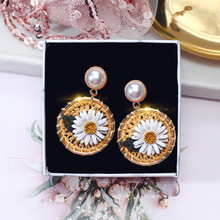 pair of graceful rhinestone circle earrings jewelry for women trendy cute pink flower earrings for women girls jewelry  rhinestone   round circle drop earrings gifts brincos