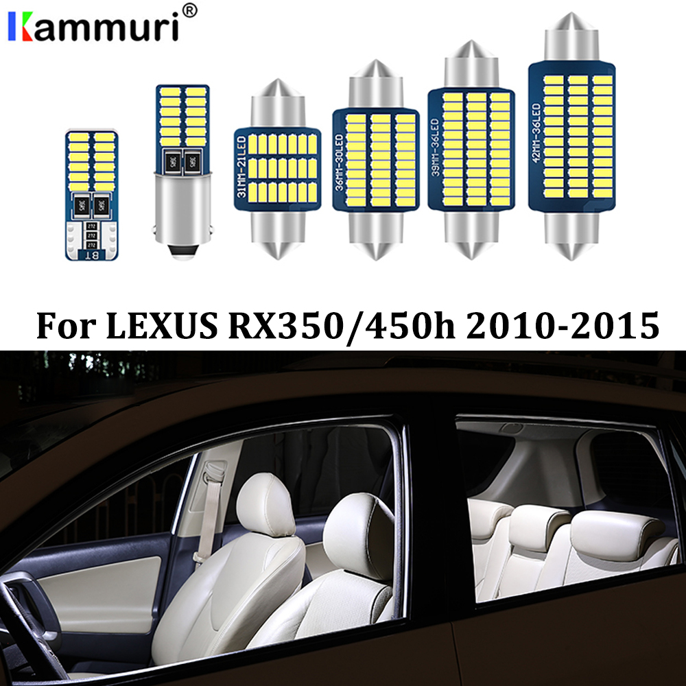 KAMMURI 18PCS ข้อผิดพลาดฟรี LED สีขาวภายในรถชุดสำหรับ 2010-2015 Lexus RX350 RX450h LED ภายใน