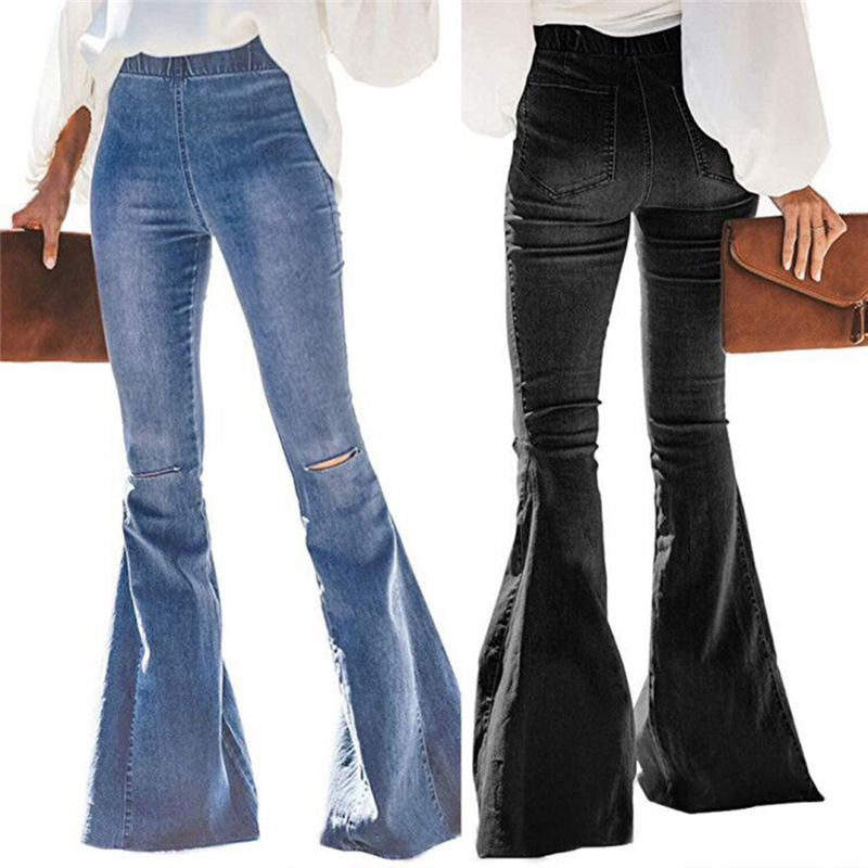 Plus Size Wide Leg Jeans High Waisted Big Bell Bottom Jeans For Women Vintage Knee Hole Ripped Long Flare Jeans Denim Pants Lady