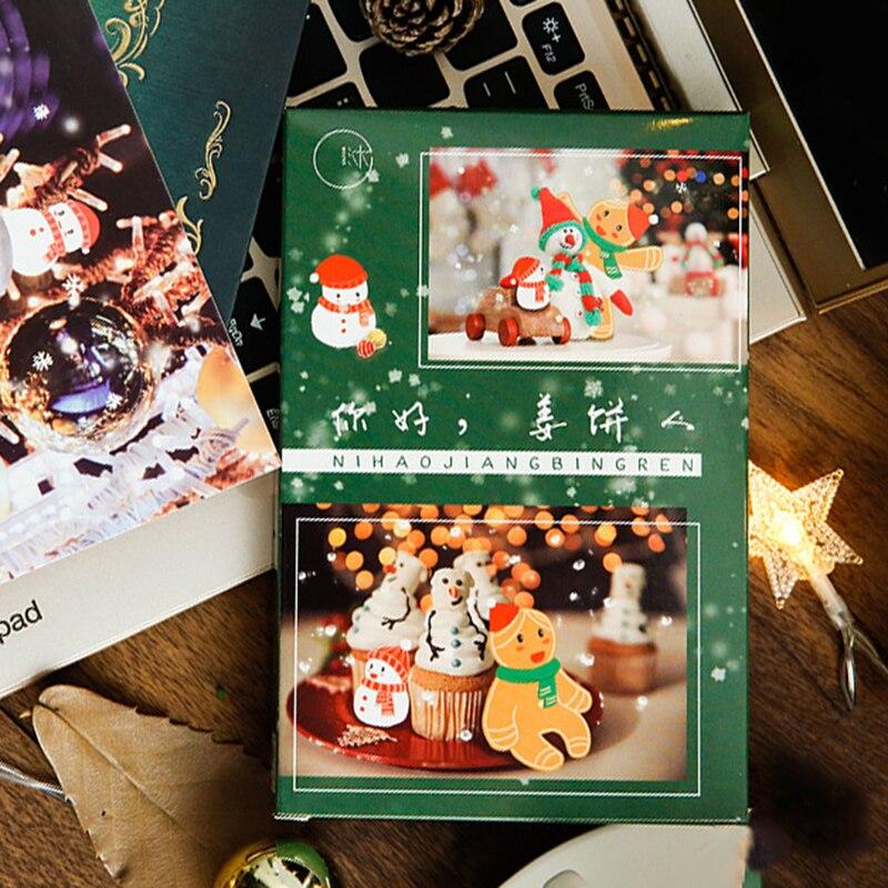30 Pcs/Set Hello Gingerbread Man Christmas Postcard DIY Cartoon Greeting Cards Message Card Xmas And New Year Gift