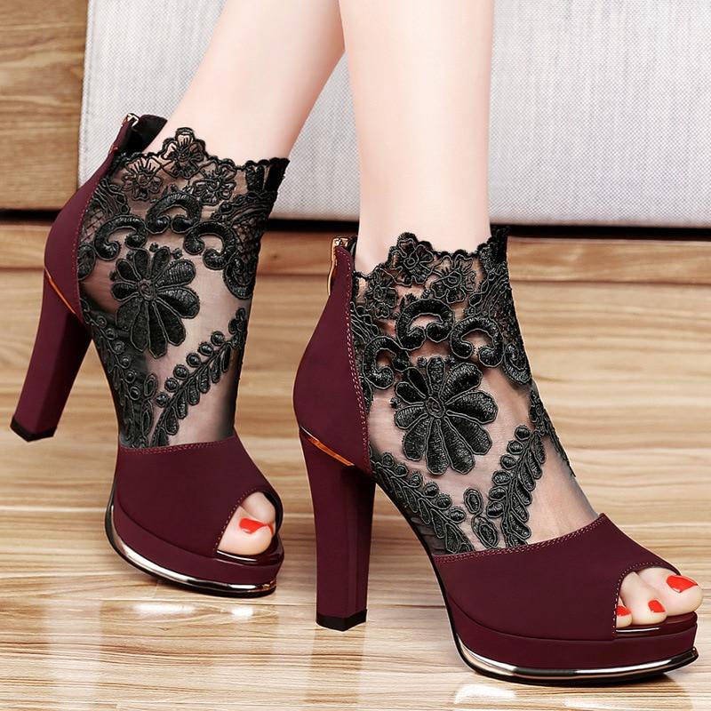 Women Sandals Summer Genuine Leather Heels Open Toe Women's Sandals Low Block Heel 5.5CM Woman Shoes Sexy Back Strappy hj89