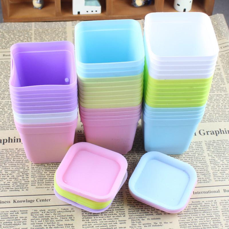 10pcs Mini Square Plastic Plant Flower Pot Home Office Decor Planter Colorful With Pots Trays Green Plant Flower Garden Supplies