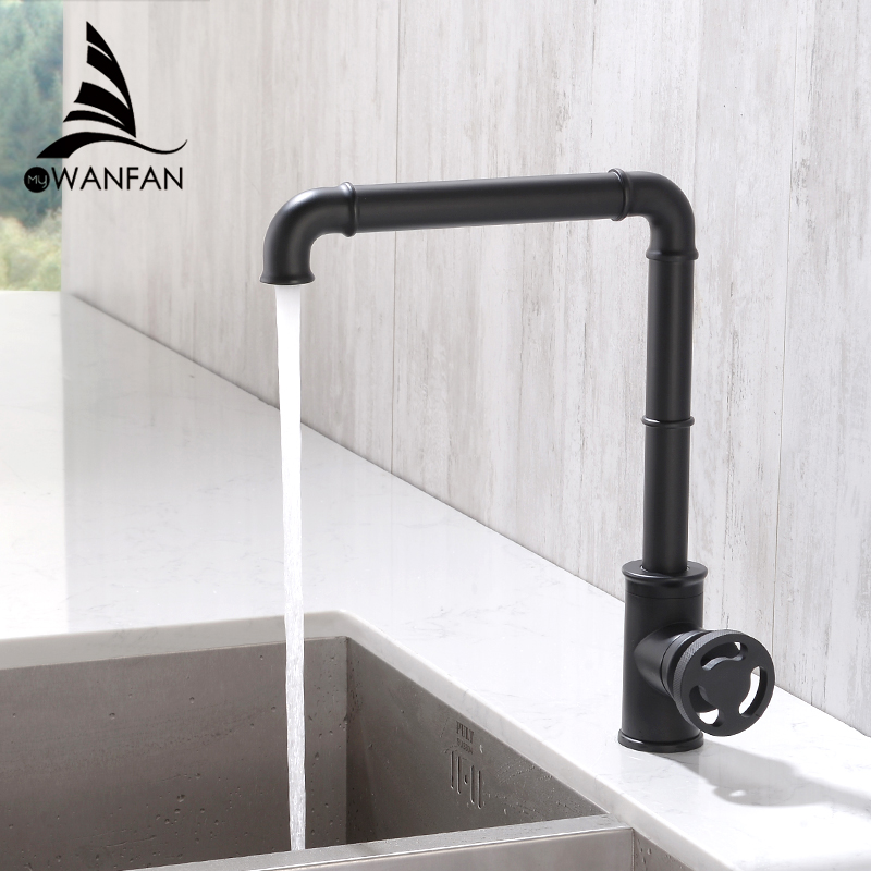 Kitchen Faucets Retro Industrial Style Matte Black  Brass Crane Bathroom Faucets Hot And Cold Water Mixer Tap Torneira WF-20B05