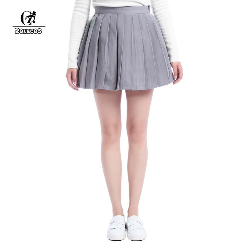 ROLECOS Plain Grey Dívčí skládaná sukně školní vzory Preppy Sweet Style Ženy Sukně Léto CC34-QU-GY