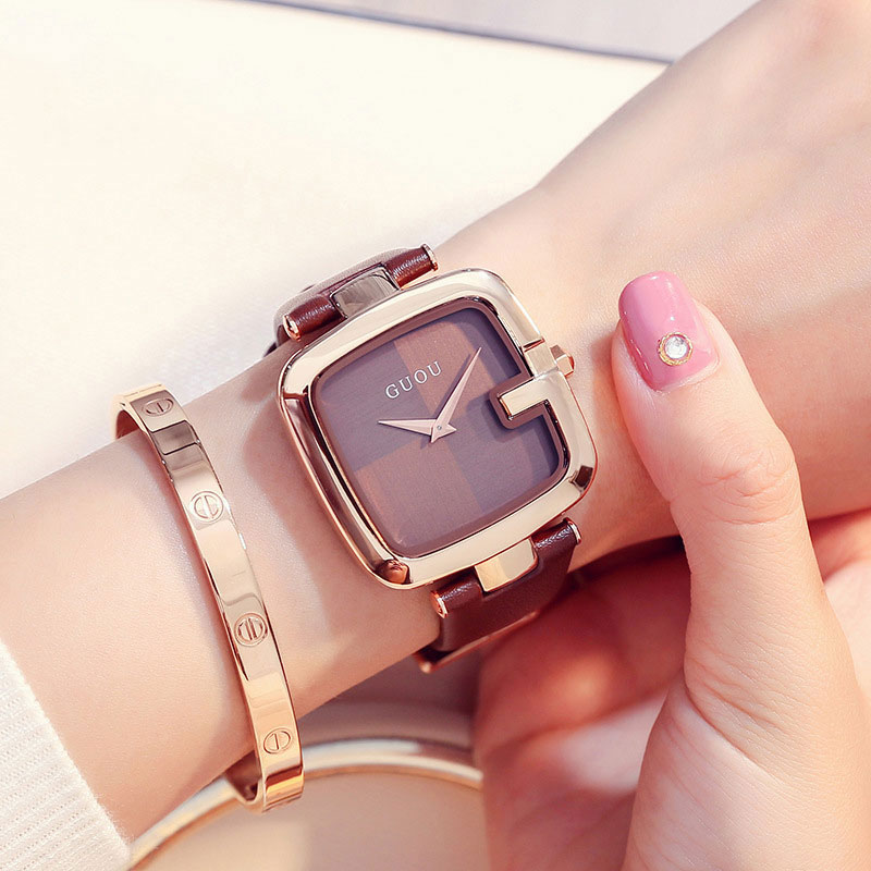 GUOU Top Brand Women s Watches Square Fashion zegarek damski Luxury Ladies Bracelet For Women Genuine Leather Strap Clocks Saati