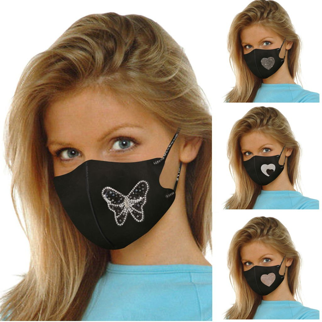 2020 Adult Peach Heart Butterfly Diamond Fashion Ice Cotton Black Mouth Nose Protect Safety Survial Products