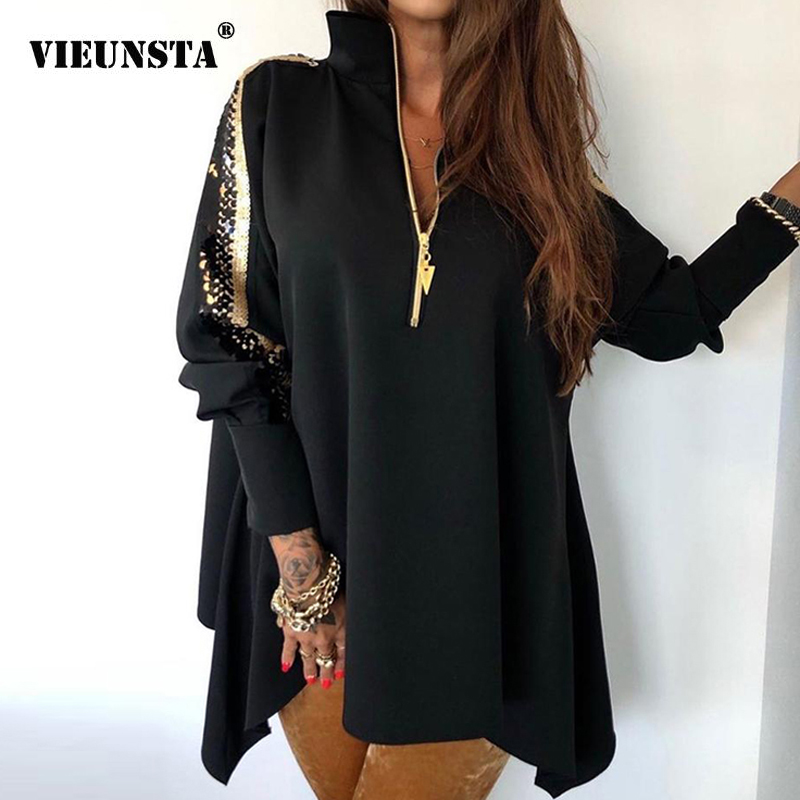 2020 Sexy Sequins Long Sleeve Women Dress Spring Autumn Zipper Turn-down Collar Party Dress Fashion Black/White Loose Mini Dress