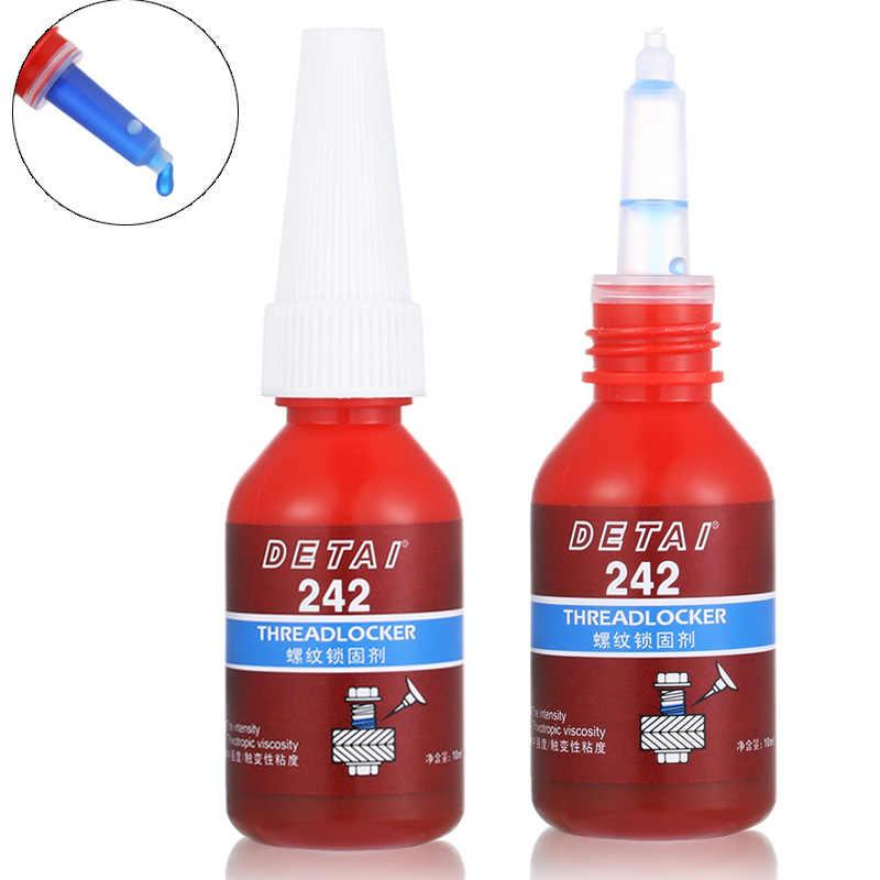 Adhesivo líquido de 10ml, con rosca Anti-corrosión, Anti-presión, pegamento azul 242, bloqueo anaeróbico de tornillo, 1 unidad