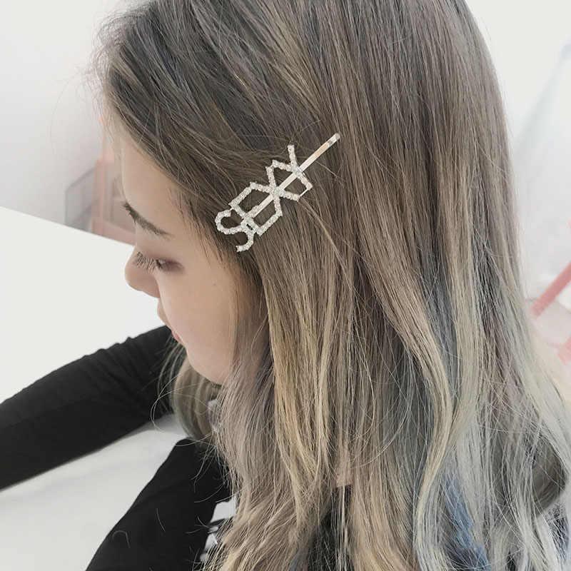 33 스타일 머리 장식 여성용 편지 헤어 클립 소녀 헤어 액세서리 패션 매력 귀여운 라인 석 골드 실버