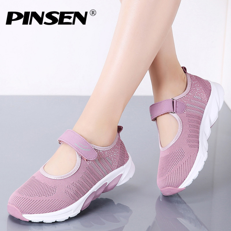 PINSEN 2019 Summer Flats Women Shoes High Quality Breathable Casual Shoes Woman Ballet Flats Shoes Chaussure Femme Big Size 41