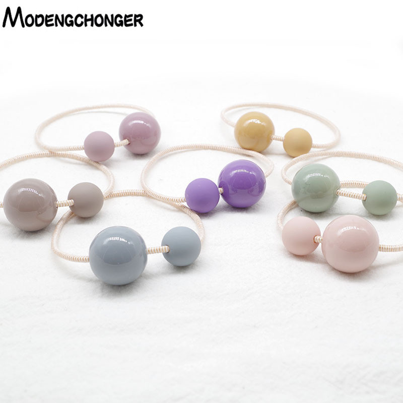 Hot Selling Colored Beads Elastic Hair Ties  For Girls Ponytail  For Hair Scrunchie Rubber Bands Hair Ropes Hair Accessories