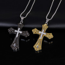 Stainless Steel Jesus Christ Cross Pendant Necklace Bead Silver Gold Link Chain Necklace Religious Jewelry Men Boys Gifts(China)