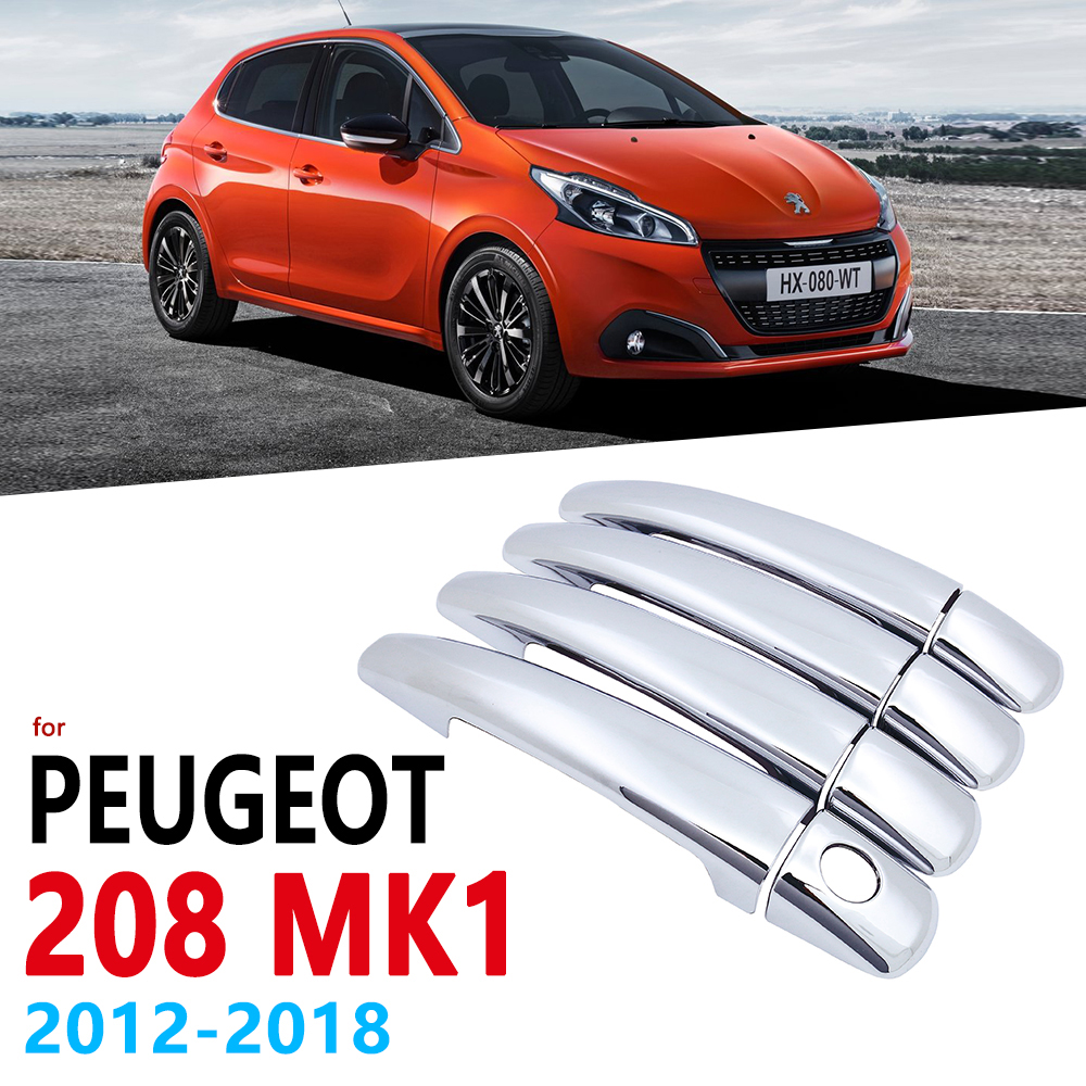 Chrome Handles Cover Trim for Peugeot 208 MK1 2012 2018 Car Accessories Stickers Styling 2013 2014 2015 2016 2017 GTI Active