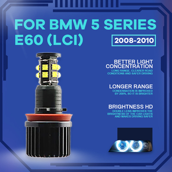 High Power Free Error 3200LM LED Marker White 240W h8 / h11 LED Angel Eyes Marker For BMW 5 Series E60 (LCI) 2008 2009 2010 image