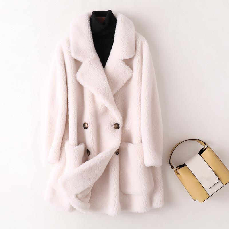 Thick Faux Fur Coat Long Woolen Jacket Women Lapel Double Breasted Fluffy Teddy Coats Casual Solid Loose Outerwear