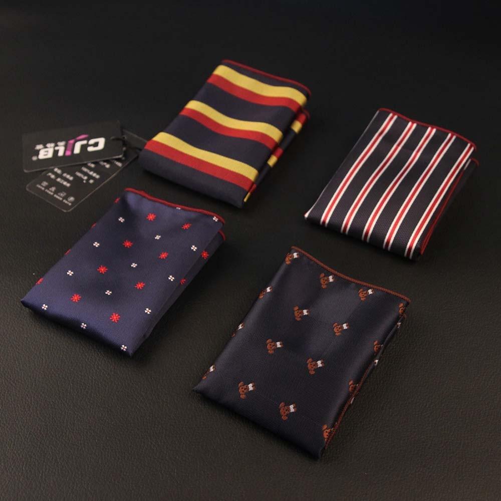 Fashion Luxury Multicolor Men Polka Dot Stripe Floral Handkerchief Silk Pattern Pocket Square Pocket Towel  24*24 Cm