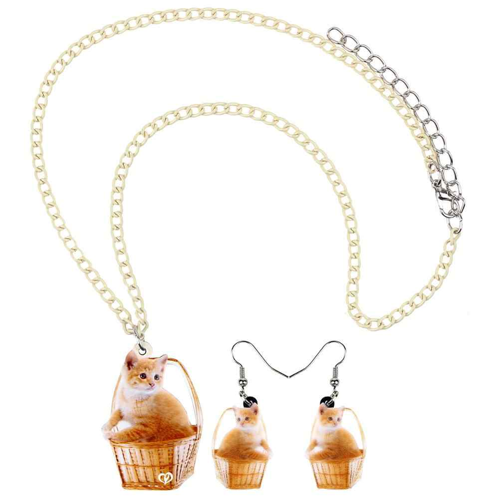 Bonsny Basket Bahan Akrilik Lucu Oranye Kucing Kalung Anting-Anting Perhiasan Set Anime Hewan Peliharaan Hadiah untuk Anak Perempuan Fesyen Hadiah Pesona