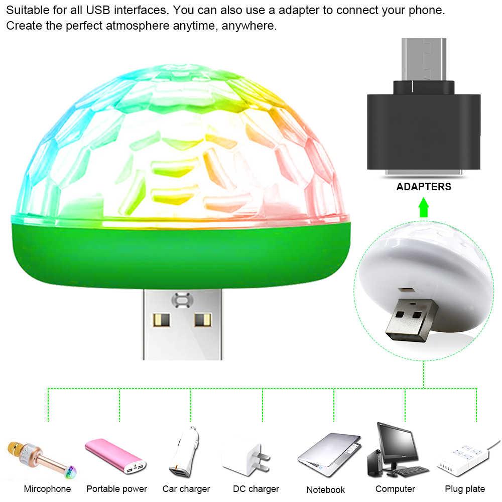Lámpara de escenario USB para coche bombilla decorativa LED Mini RGB Luz de atmósfera para coche luces interiores de estilo automático para fiesta de Karaoke