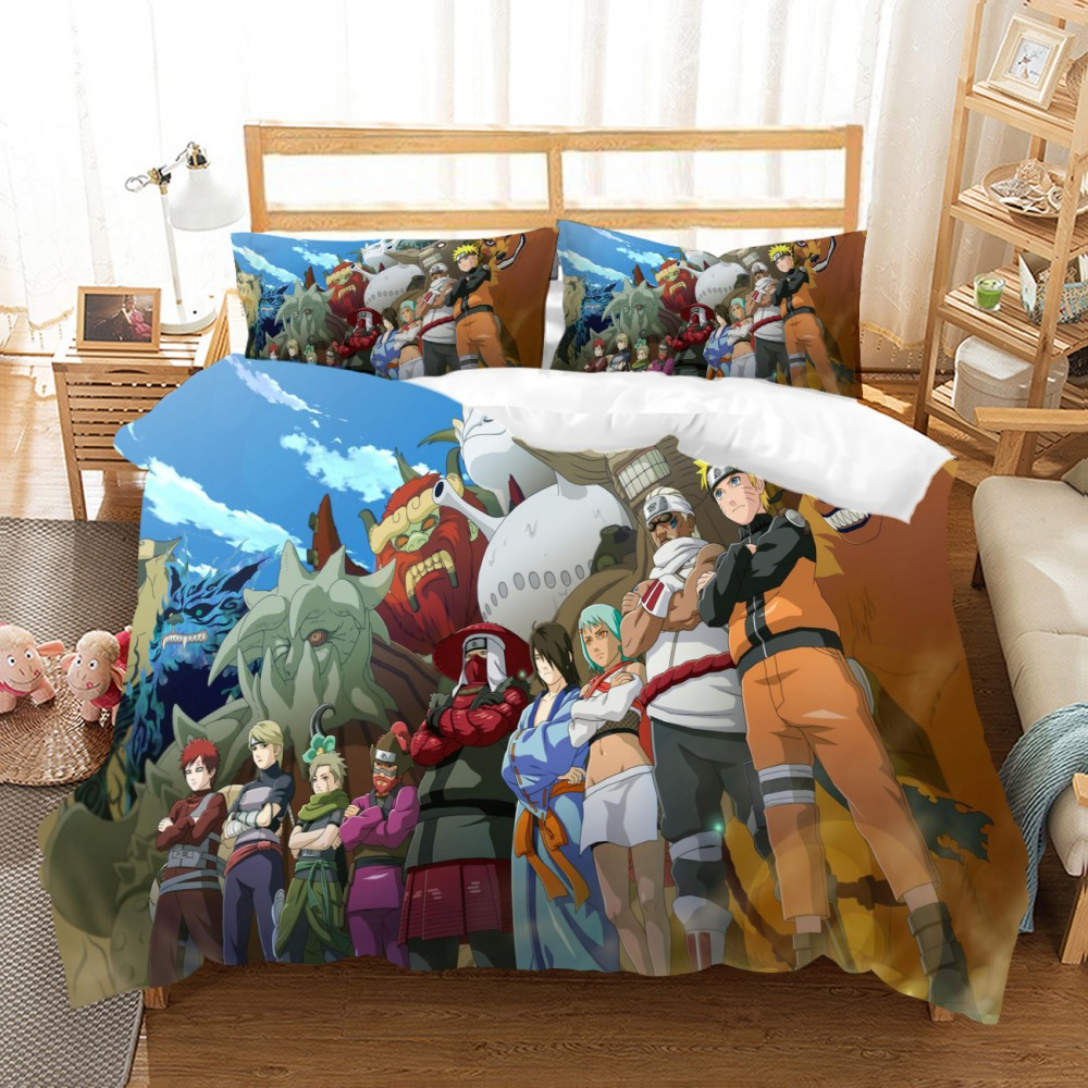 Bettwaren Wäsche Matratzen Naruto Anime Bedding Set Duvet Quilt Cover Pillowcases Domitory Bedroom Students Möbel Wohnen Tasaceramic Vn