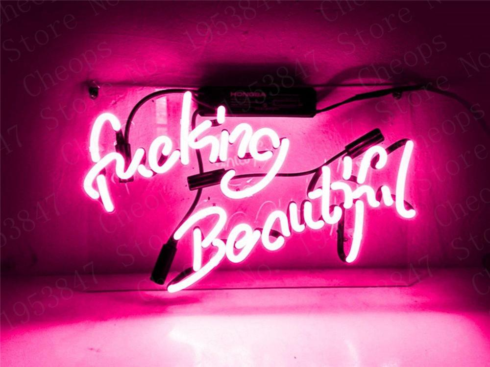 Fvck Beautiful Pink Gift Neon Signs Real Glass Tube Beer Bar Pub Handmade Homeroom Girlsroom Party Decor Light Sign 14 Inch
