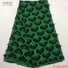 Anna green embroidered african net lace nigerian tulle fabric with feather 5 yards/pcs french laces mesh fabrics for party dress