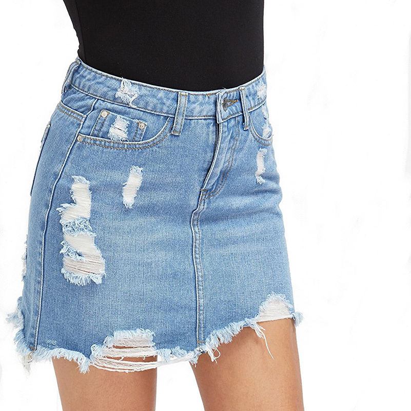 High Quality Women Blue Ripped Casual Mini Denim Skirt 2019 Summer New Bodycon Skirt Basic Pocket Jeans Cool Mid Waist Skirt