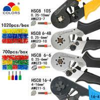 Attrezzi di piegatura pinze terminali tubolare elettrico scatola di mini morsetto HSC8 10S 0.25-10mm2 23-7AWG 6-4B/6- strumenti di 6 0.25-6mm2 16-4 set